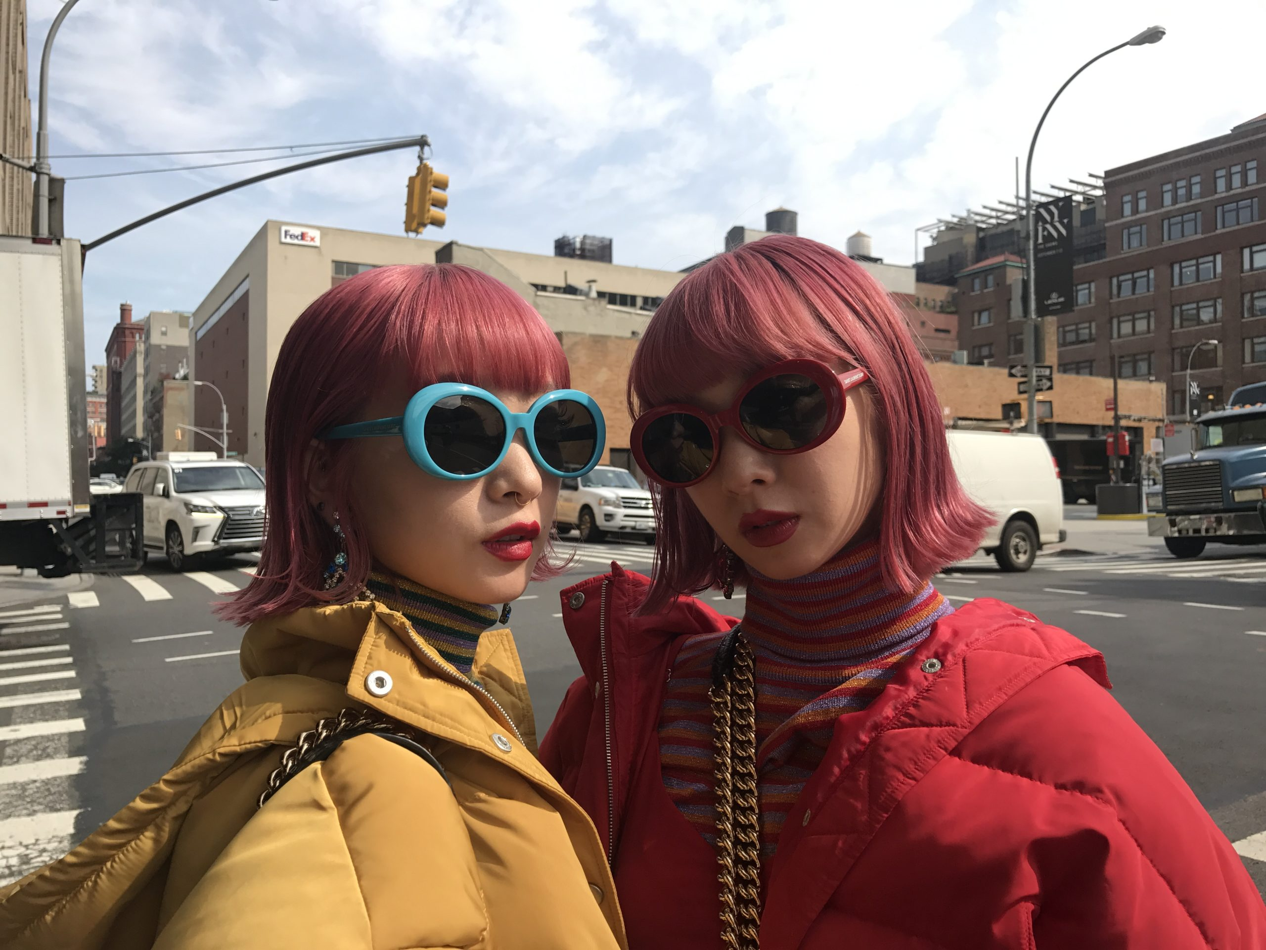 Pink Asian Models NYFW Soring 2018 street style hair