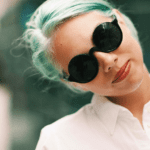 Shelby Rodriguez NYFW Mint hair green hair