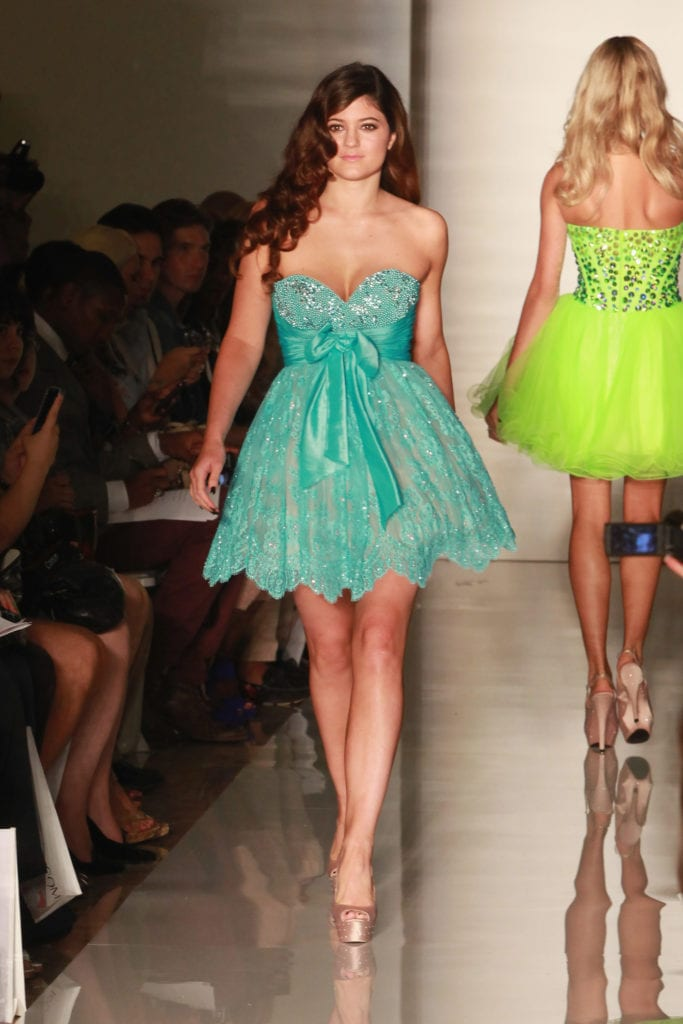 Kylie Jenner walks the Sherri Hill fashion show at Spring 2013 Mercedes-Benz Fashion Week