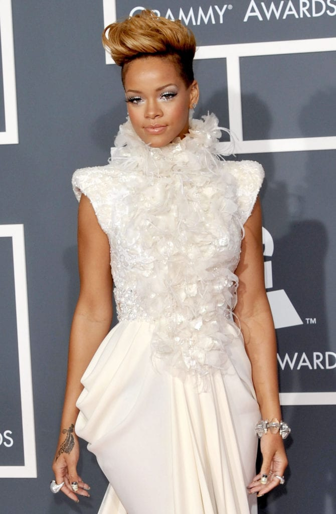 Rihanna attends the 52nd Annual Grammy Awards in 2010