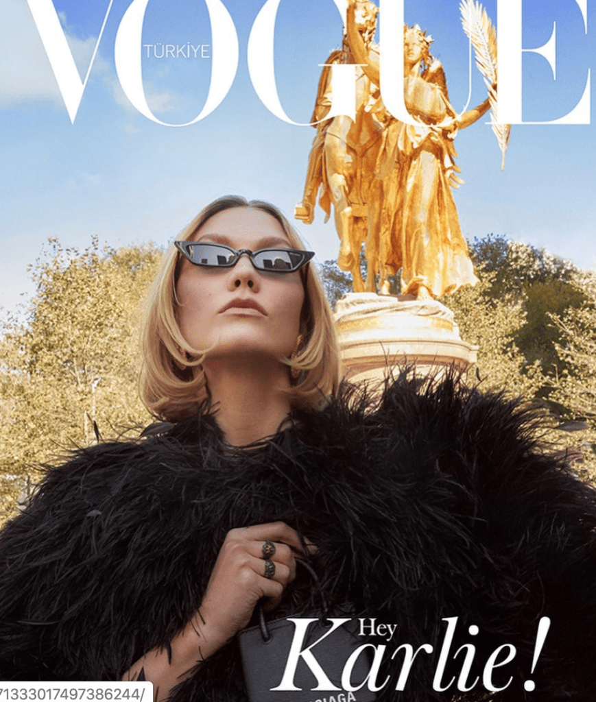 Photo of vogue cover with Karlie Kloss Evanie styled