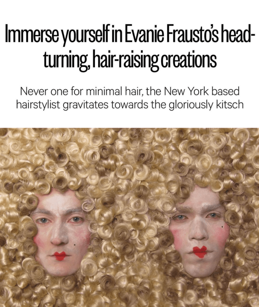 Photo of an article on Evanie Frausto's wigs