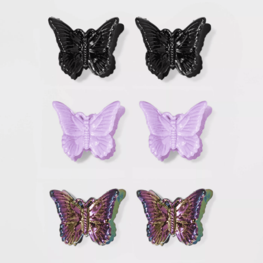 Six pack of multi-colored butterfly clips from Target